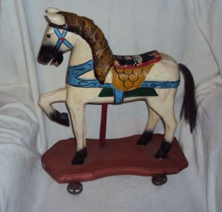 Antique Pony on the Wheels toy, Carousel horse, Wooden carved origilal