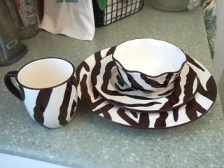 Chocolate Brown & White Zebra Print Dishes Dinnerware BALLARD DESIGNS