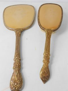ANTIQUE HAND MIRROR GOLD METAL BRUSH SET FLOWER ART HELD OVAL