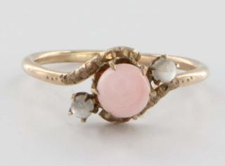 Antique Victorian Rose Gold Coral Moonstone Ring Vintage Fine Jewelry