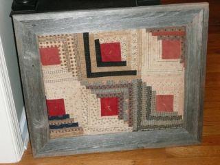 Antique Log Cabin Quilt Framed in Vintage Old Barn Wood Frame Handmade