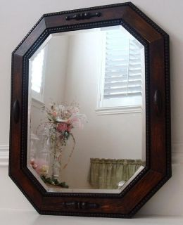 Antique Oak Jacobean Wood Frame Beveled Glass Mirror