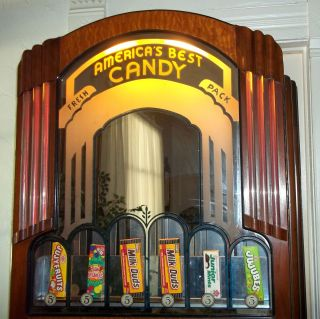 Antique Art Deco Vending Machine Nickel Candy Dispenser Theatre