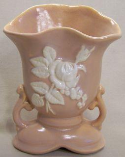 Vintage Weller Pottery Peach Cameo Rose Vase w Handles