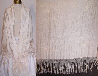 Antique Cream White Silk Floral Embroidered Wedding Piano Shawl