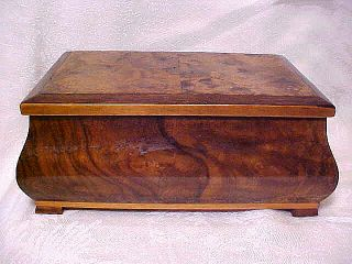 Antique BURL WOOD Wooden Inlay TRINKET Jewelry BOX Enlisted Rank US
