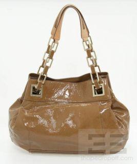 Anya Hindmarch Brown Patent Tan Leather Shoulder Bag