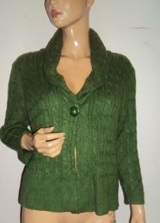 Ann Taylor Loft Dark Olive Green Cable Knit Cardigan Sweater New Sz L