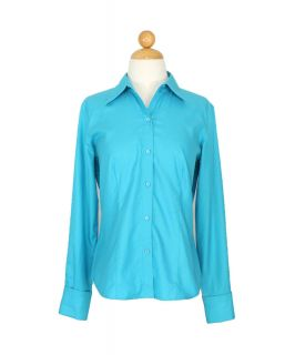 Ann Taylor Pleated Button Down Periwinkle Blue Top Shirt Blouse Size S