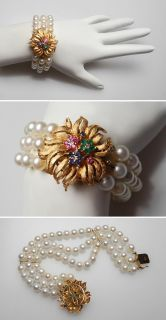 Vintage Three Row Pearl Bracelet Solid 14K Gold, Emerald Ruby Sapphire