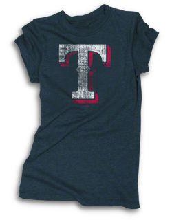 Texas Rangers Womens Navy Tri Blend Tunic Length T Shirt