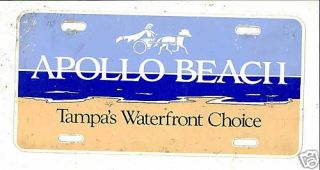 Apollo Beach Tampas Waterfront License Plate Tag