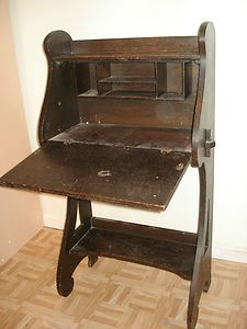 Antique Arts and Crafts mission style drop down secretary desk