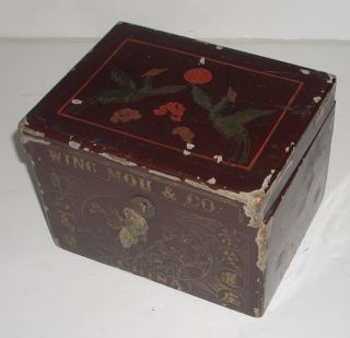 Antique Hand Painted Wing Mou Co Chinese Tea Box China
