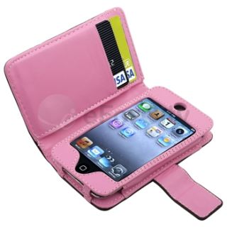 leather wallet case compatible with apple ipod touch 4th generation