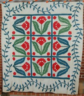 1870s Red & Green Coxcomb Applique Antique Quilt Top