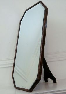 Antique Oak Wood Frame Beveled Dresser Vanity Mirror