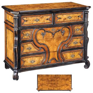 Antique English Style Chest of Drawers Burl Hardwoods Walnut Oak New