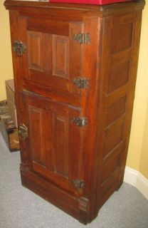 Old Fashioned Antique Ice Box Refrigerator Oak Cabinet