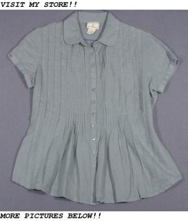 April Cornell Size M 8 10 Green Linen Shirt Top Blouse