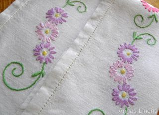 Vintage Linen Traycloth Hand Embroidered Pink Purple Flowers