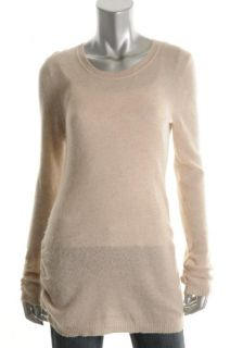 Aqua New Tan Cashmere Ribbed Trim Ruched Long Sleeve Pullover Sweater