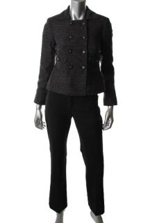 Anne Klein New Black Double Breasted Flat Front Pant Suit Petites 0P