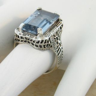 CARAT AQUAMARINE .925 STERLING SILVER ANTIQUE STYLE FILIGREE RING Sz