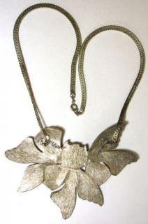 Large Leaf Necklace Leaves Acrylic Stone Brushed Silvertone Massive