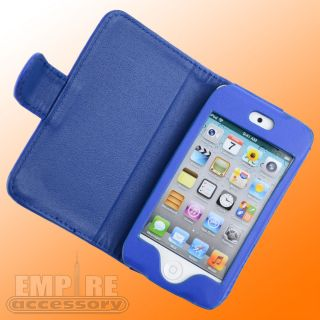 BLUE LEATHER FOLDING CASE LCD FOR APPLE IPOD TOUCH iTouch 4G 4th Gen
