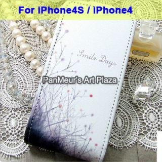 Apple iPhone 4S 4 Cute Protective Cell Phone PU Leather Case Cover