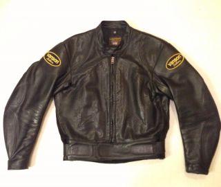 Vanson Cobra Sportrider Leather Motorcycle Jacket Mens Size 44 Black