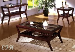 New 3pc Arcata Glass Dark Cherry Wood Coffee Table Set