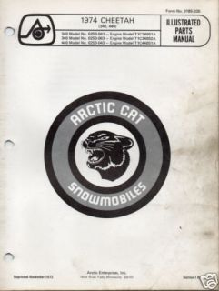 1974 Arctic Cat Snowmobile Cheetah Parts Manual