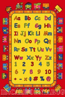 Area Rug ABC Kids School Time Numbers Train Yellow Red New