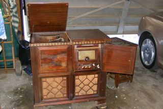 Rare Antique Magnavox Belvedere Console Tube Radio & Record Player