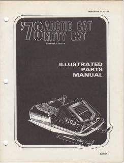 1978 Arctic Cat Snowmobile Kitty Cat Parts Manual