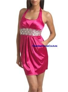 Arden B Pink Satin Beaded Halter Dress Size Medium 6