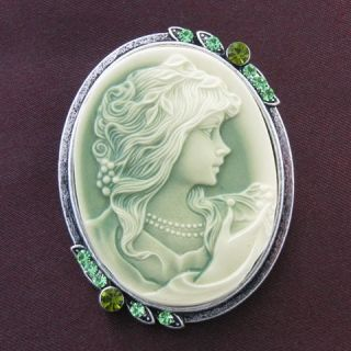 Antique Vintage ST Green CAMEO Brooch Pin for Necklace Pendant Emerald