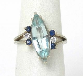 LOVELY 14K W GOLD, DIAMONDS, AQUAMARINE SAPPHIRES RING