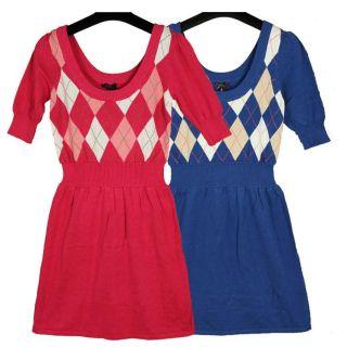 Argyle School Girl Prep Mod Dress Vintage Blouse Pink Blue Brown