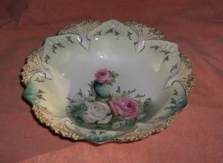 Antique RS Prussia China Bowl Pink White Roses White Arrows Gold