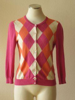 Crew Pink Cotton Argyle Print Crewneck Cardigan Sweater S
