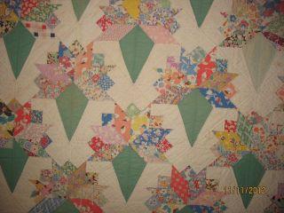 Antique Quilt FLOWER BOUQUET HAND STITCHED 86 X 75 5 VERY NICE