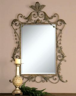 French Ornate Antique Gold Leaf Wall Mirror Large 43 Beveled