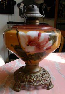 Antique GWTW Hand Painted Flowers Kerosene Oil Table Lamp Base