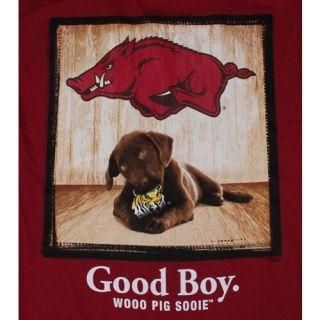 Arkansas Razorbacks T Shirt   Mans Best Friend   Good Boy   Color Is