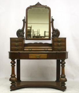 ANTIQUE DRESSING TABLE VICTORIAN DUCHESS 19TH MAHOGANY LARGE