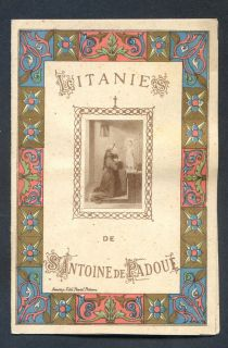 Antique french holy card goldprint litany of st Antoine de Padoue