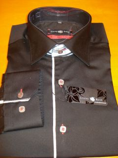 Stone Rose Fashion Fit Red Rivet Collection Mens Black Shirt New